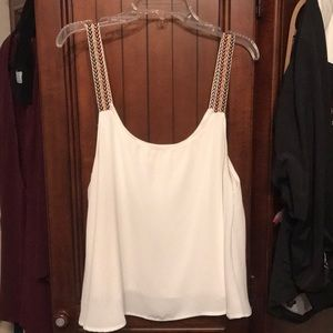 White tank top blouse with multicolored straps